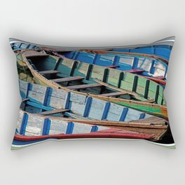 COLORFUL CANOES ALONG PHEWA LAKE SHORELINE POKHARA NEPAL Rectangular Pillow