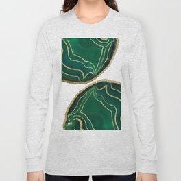 Emerald Agate Gold Glam #1 #gem #decor #art #society6 Long Sleeve T-shirt