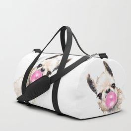 Bubble Gum Sneaky Llama Duffle Bag