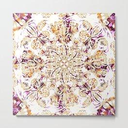 """Autumn Magic"" | Floral Mandala Pattern Metal Print"