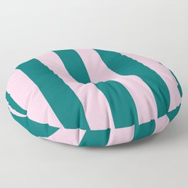 Classic Cabana Stripes in Conch Pink + Dark Teal Green Floor Pillow