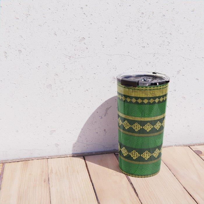 Celtic Knot Decorative Gold and Green pattern Travel Mug