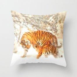 Siberian Amur Tigers Throw Pillow