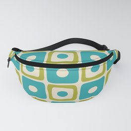 Mid Century Modern Square Dot Pattern 771 Turquoise and Chartreuse Fanny Pack