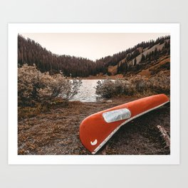 Rustic Autumn Canoe // Dusk Lit Gray Sky Pond Reflection in the Colorado Woodlands Art Print