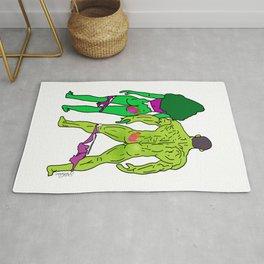 Superhero Butts Love 5 - Green Rug