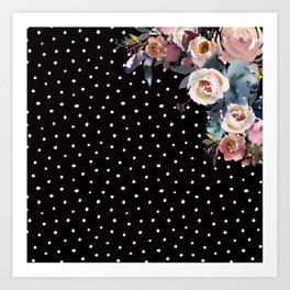 Boho Flowers and Polka Dots on Black Kunstdrucke