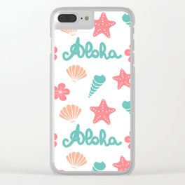 summer pattern background with hand drawn lettering aloha word, seashells, starfishes and flowers Clear iPhone Case