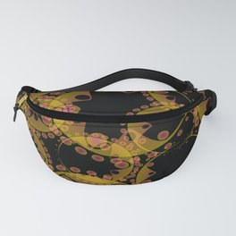 Abstract pastel pattern of sand and blue soap bubbles and gears in a bright design on a black backgr Fanny Pack