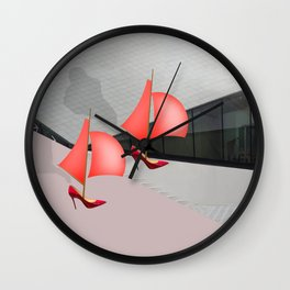 May Visits the Museum of Visual Arts - shoes stories Wall Clock