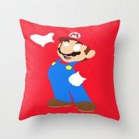 super mario Throw Pillows featuring Super Mario by Valiant
