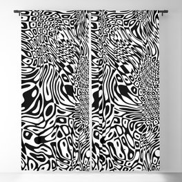 Black  and white psychedelic optical illusion Blackout Curtain