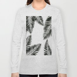 Black Watercolor Tropical Leaves Long Sleeve T-shirt