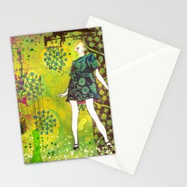 girl in green Stationery Cards