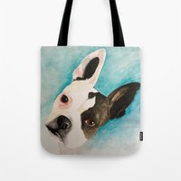 boston terrier Tote Bags featuring Boston Terrier  by MeggaChurch