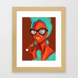 Lipstick Lady #OilPainting #ArtNouveauStyle Framed Art Print
