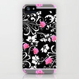 BEAUTIFUL PINK GREY-BLACK ROSE SCROLLS iPhone Case