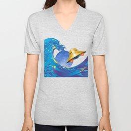 Hokusai Rainbow, UFO & the Moon  Unisex V-Neck