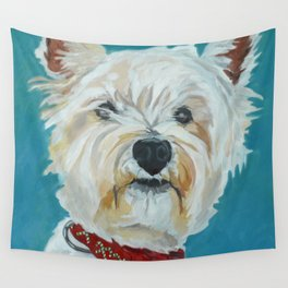Jesse the Beautiful West Highland White Terrier Dog Portrait Wall Tapestry
