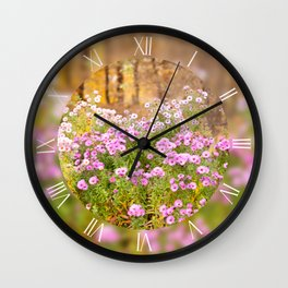 Pink Aster clumps flowering plants Wall Clock