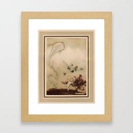 Arthur Rackham - (1907) - The birds show Peter how they fly a kite Framed Art Print