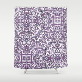 Colorful Intricate Geometric Tribal Pattern Shower Curtain