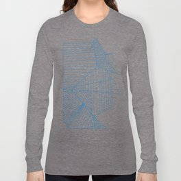Architectural Blue Print Long Sleeve T-shirt