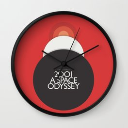 2001 A Space Odyssey - Stanley Kubrick minimalist movie poster, Red Version, fantasy film Wall Clock