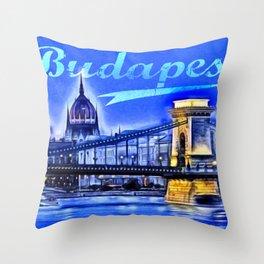 Budapest, blue Throw Pillow