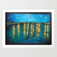 starry night Art Prints featuring Starry by Alice Tang