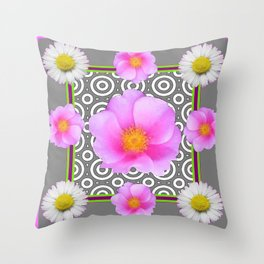 Modern Art Style Shasta Daisy Pink Roses  Grey color Abstract art Throw Pillow