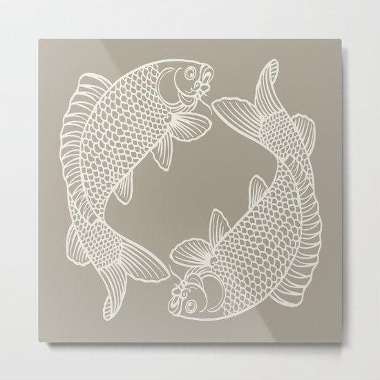 Gray Grey Alabaster Koi Fishes Metal Print