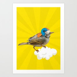 Little bird on little cloud Art Print