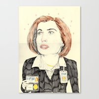 scully Canvas Prints featuring scully by withapencilinhand