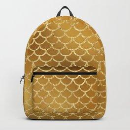 Elegant, Bling Gold Mermaid Scale Pattern Backpack