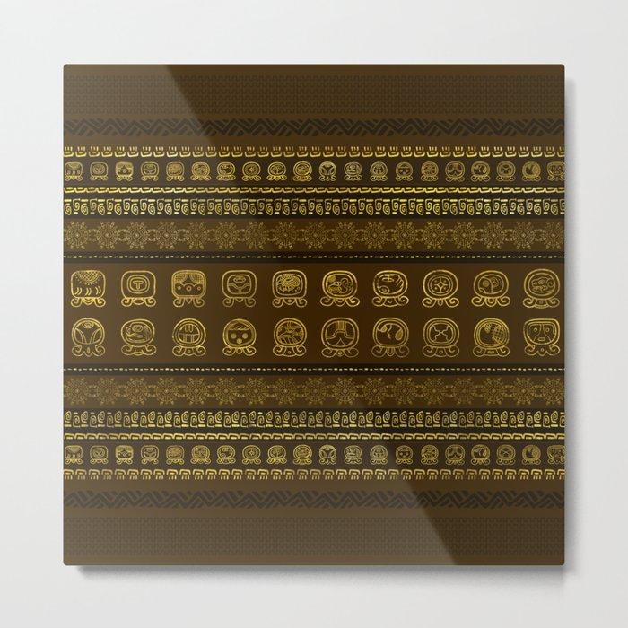 Maya Calendar Glyphs pattern Gold on Brown Metal Print