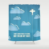 sagan Shower Curtains featuring On My Way by Katherine Paulin