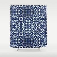 aelwen Shower Curtains featuring Blue by Shelly Bremmer