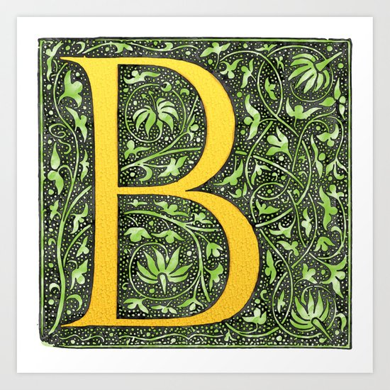 Beautiful letter \'B\' vintage monogram letter Art Print by ...
