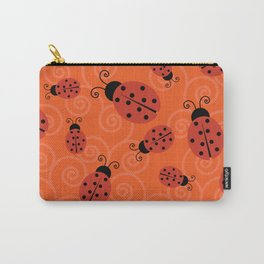Red Ladybugs on Orange Background Carry-All Pouch