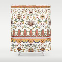Asian Floral Pattern 6 in White Antique Shower Curtain