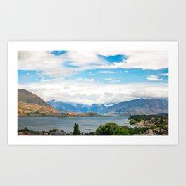 Cloudy summer day at Wanaka, New Zealand Art Print
