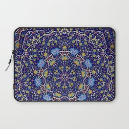 Nine sided ornament in blue with swirly things and such Laptop Sleeve