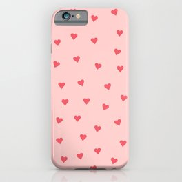 Valentines Day Pink Love Scatter Hearts iPhone Case