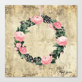 Wreath #Rose Flowers #Royal collection Canvas Print