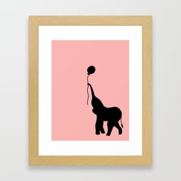 Elephant with Balloon - Pink Framed Art Print