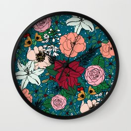 Cute colorful winter floral and white dots design Wall Clock