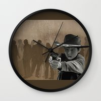 carl sagan Wall Clocks featuring Carl by Richtoon
