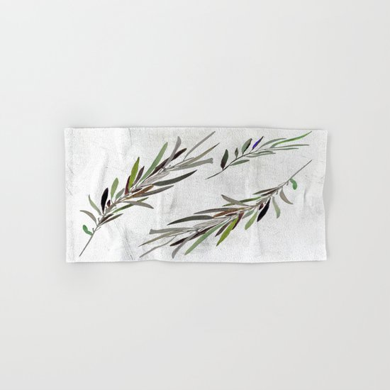 Eucalyptus Leaves White Hand & Bath Towel