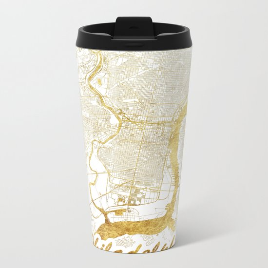 Philadelphia Map Gold Metal Travel Mug